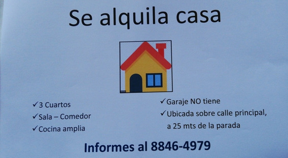 Casa Familiar, Alquiler. Mozotal, Guadalupe.