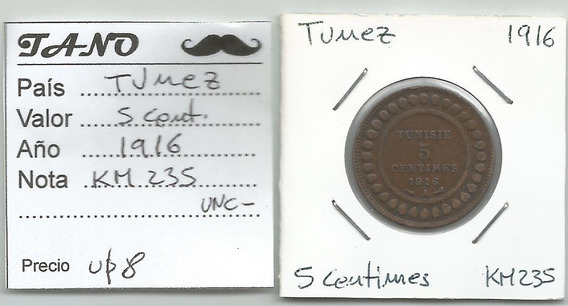 M218 Túnez Moneda 5 Cent. 1916 Km# 235 Xf+++