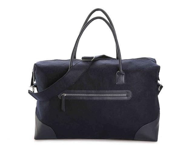 Sacola Viagem Feminina Dsw Bolsa Tecido Couro Importada Azul
