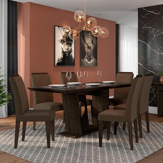 Conjunto Sala De Jantar 6 Cadeiras C/vidro Gunma