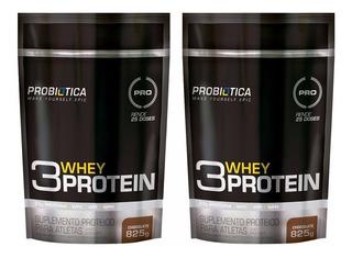 2x Whey Protein 3w Probiotica Refil 825g = 1,650kg