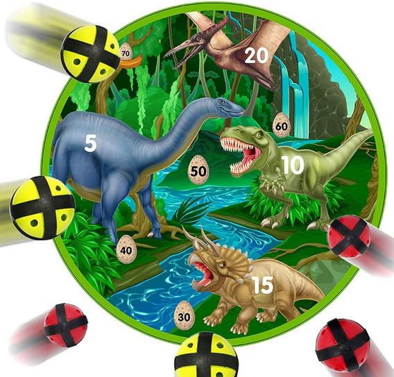Juego Tablero De Dardos Con 6 Pelotas Con Velcro Dinosaurios