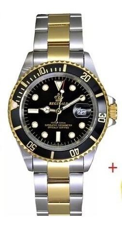 Relógio Reginald Submariner Preto Com Marrom Novo Quartz