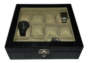 Caixa Estojo Porta 12 Relógios Courvin Com Vidro.