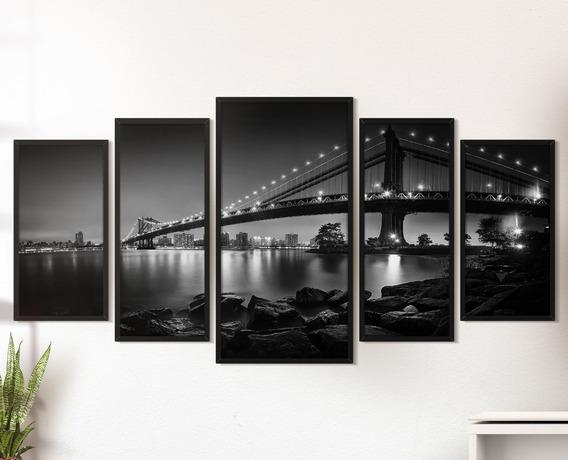 Quadro Decorativo Cidades Moldura Sala Quarto Manhattan