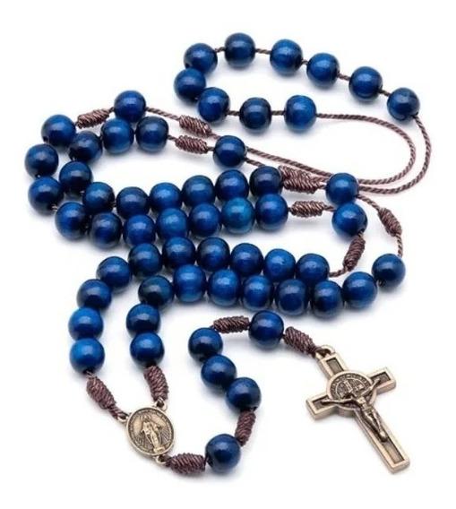 Kit 6 Terços Acampamento De Oração Azul-escuro No Cordão 964