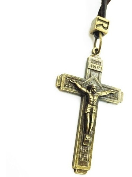 Colar Rústico Hipster Couro Cruz Crucifixo Jesus Cristo