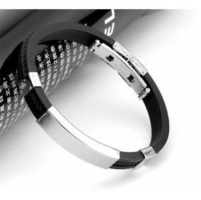 Pulseira Couro Masculina Preta Em Silicone E Aço Bracelete