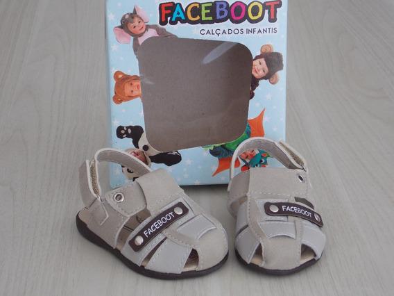 Sandália Menino Faceboot Bege Lançamento - Preço Imperdível