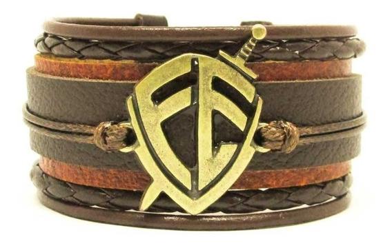 Pulseira Bracelete Escudo Fé Couro Legítimo Marrom Regulável