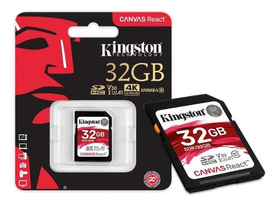 Cartão De Memória Classe 10 Kingston Sdr/32gb Sdhc 100r/80w