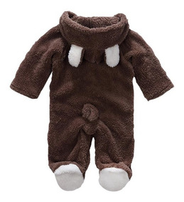 Macacão Bebê Pelúcia Infantil Urso Orelhinha Bichinho Oferta