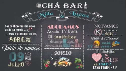 Painel Lona Chalkboard Chá Bar   2,00x1,40 Mt