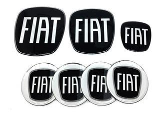 Kit Adesivos Resinado Emblema Fiat Black Piano Bravo