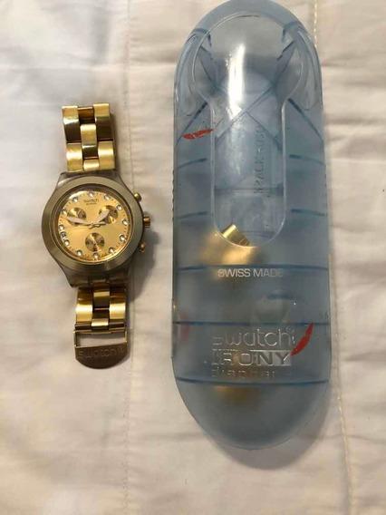 Relógio Suíço Swatch Dourado Full Blooded Svck4032g Na Caixa