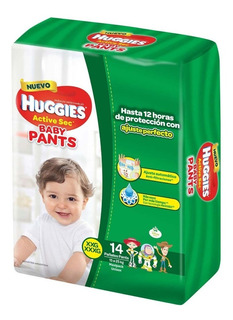 Pañales Huggies Active Sec Baby Pants Talle Xxg X 14 Unid