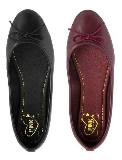 Zapatos Balerianas Dama Kit De 2 Pares!!! Negro Y Vino Super
