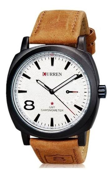 Relógio Masculino Social Marrom Curren Luxo 8139 Promoção