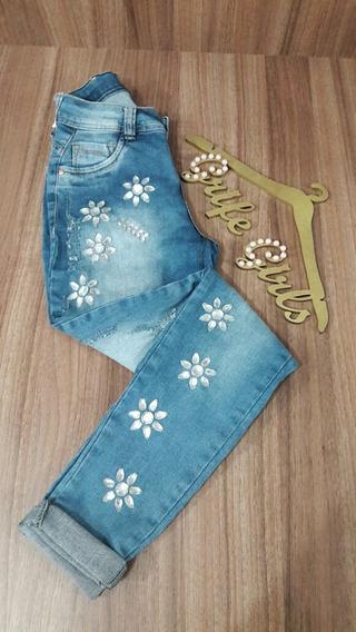 Calça Jeans Com Pedrarias 100