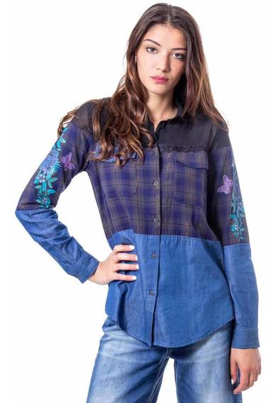 Blusa Desigual Azul Mujer, Camisa Desigual
