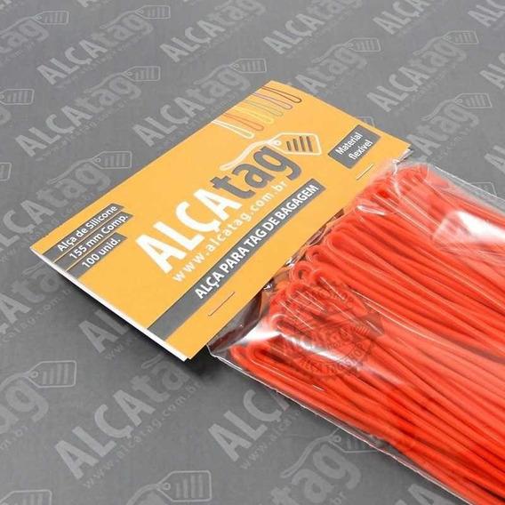 Alça Tag Bagagem Silicone - 16 Cm - Cordão Vermelho 100 Und