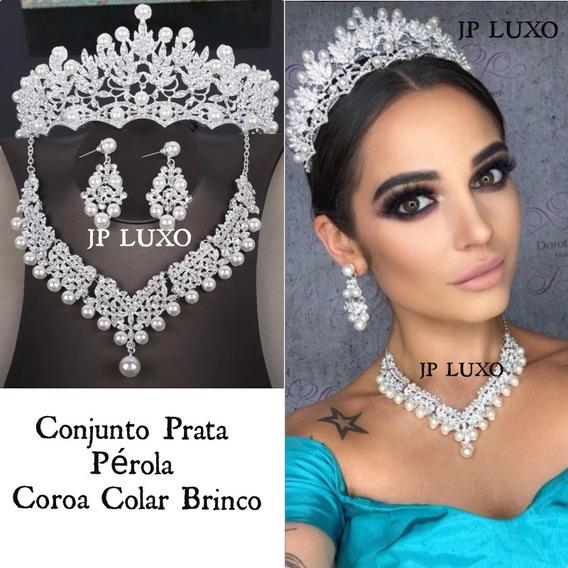Conjunto Coroa Colar Brinco Pérola Prata Noiva 15 Anos Miss