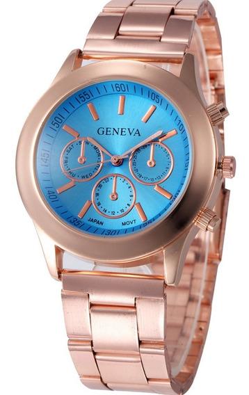 Relógio Feminino Geneva Dourado Rose Azul De Aço Oferta