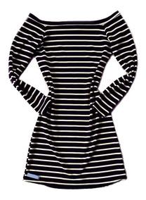 Vestido Listrado Feminino Ombro A Ombro Manga Longa Curto