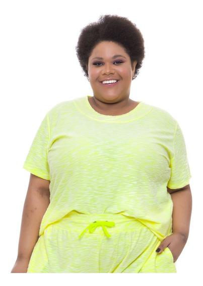 Pré Venda Camiseta Plus Wonder Size Moletinho Amarelo Neon