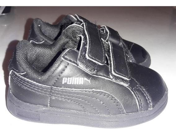Unicas!! Zapatillas Puma Cuero Negra T 20 Bebe Niño Abrojo