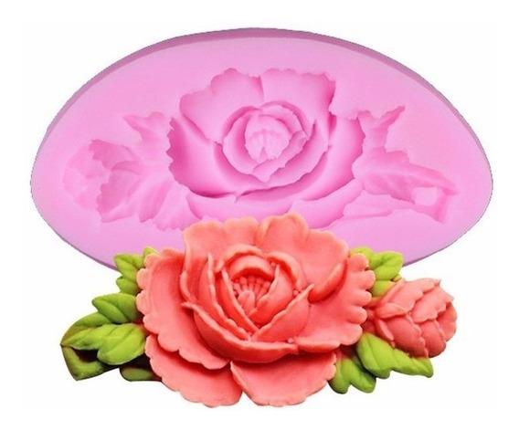 Molde 3d Silicone Rosa Com Ramos Artesanato Pasta Americana