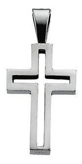 Cruz Contorno En Oro Blanco De 14k (27674)