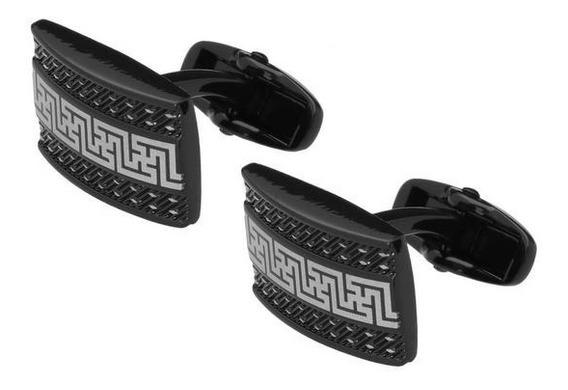 Mancuernillas Royal Flush Rectangulares Negras Con Diseño Bl