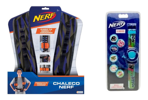 Imagen 1 de 6 de Chaleco Nerf + Reloj Lanza Discos Nerf