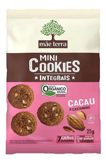 Mini Cookies Mãe Terra Cacau Castanhas Orgânico 25 Gr