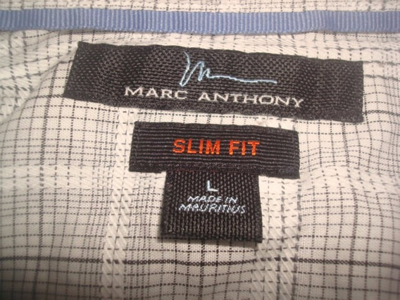 Camisa Marc Anthony Blanca De Cuadritos Talla L Slim Fit
