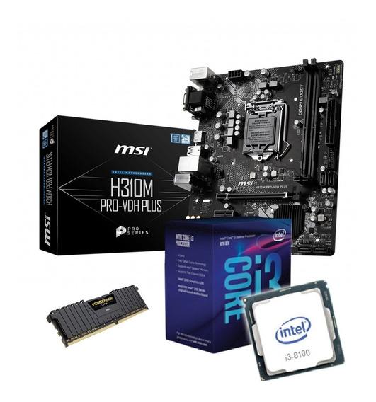 Combo Actualizacion Pc Gamer Intel Core I3 8100 H310 8gb Ddr4 Haedo