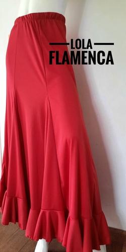 Falda De Baile Flamenco Roja C/ Volados 6 Gajos Jersey Set