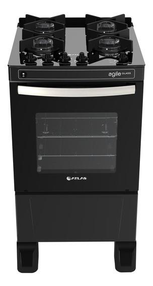 Fogão de piso Atlas Agile Glass 4 queimadores GLP preto 110V/220V porta de vidro 50L