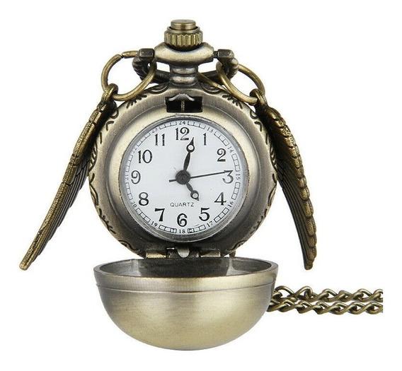Harry Potter Snitch Dorada Collar Reloj De Colección