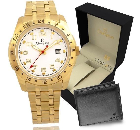 Relógio Masculino Dourado Champion Ouro 18 + Carteira Brinde