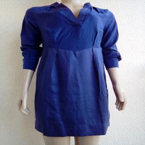 Vestido Manga Longa Curto Soltinho Azul Índigo Fórum Oferta