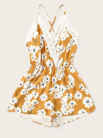 Floral Cami Romper - Mujer W