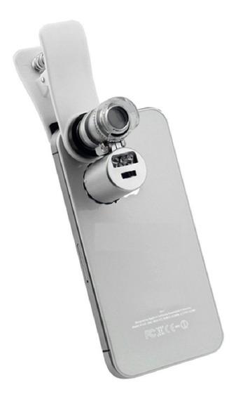 Lupa Mini Microscópio Para Smartphone Led E Ultravioleta 60x