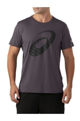 Remera Asics Slvr Graphic Ss Top Hombre Gris Oscuro Running