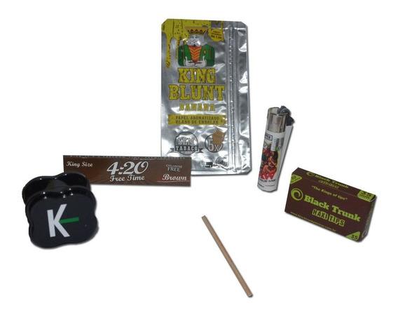 Kit Essencial Com Dichavador Isqueiro Seda 420 Brown Piteira
