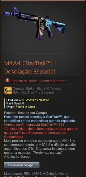 Skin Cs Go M4a4 (stattrak) | Desolação Espacial