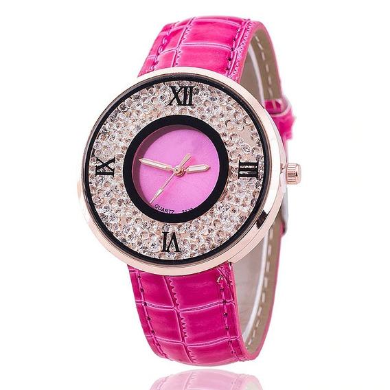 Relógio Dress Watch Pink Cristal Importado Pronta Entrega