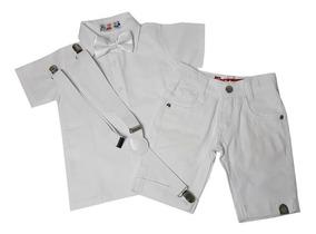 Roupa Conjunto Batizado Menino Branco Short Suspensório 1/8a