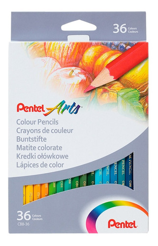 Imagen 1 de 3 de Lápices De Colores Pentel Caja  36 U